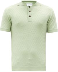 King & Tuckfield ダイヤパターン メリノウールポロシャツ - グリーン