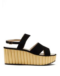 Ferragamo Mae Suede And Leather Wedge Sandals - Black