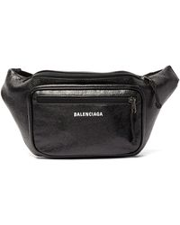 Balenciaga Explorer Textured-leather Belt Bag - Black