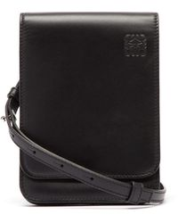 Loewe Gusset Flat Leather Cross-body Bag - Black