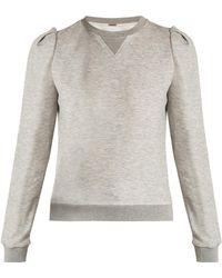 Adam Lippes Pleated-shoulder Jersey Sweatshirt - Gray