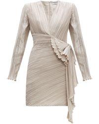 Givenchy Bow-embellished Plissé-satin Dress - Gray