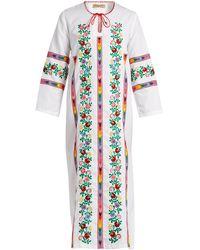 Muzungu Sisters Jasmine Vine Embroidered Cotton Dress - Multicolour