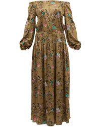 Adriana Iglesias Creek Floral-print Silk-blend Satin Maxi Dress - Brown