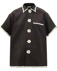 Bode Button-embellished Linen-canvas Shirt - Black