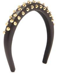 Prada Studded Leather Headband - Black