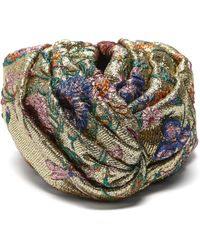 Gucci - Metallic Floral Brocade Turban Hat - Lyst