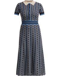 Gabriela Hearst Elvis Striped Cashmere Blend Midi Dress - Blue
