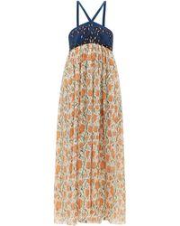 Chloé Tulip-print Empire-waist Cotton-blend Crepe Dress - Multicolour