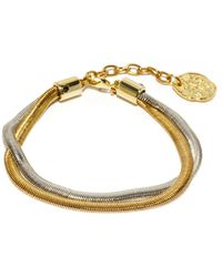 Ancient Greek Sandals Bracelet de cheville double chaîne Fishscale - Métallisé