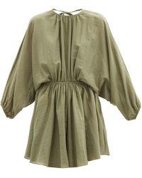 Loup Charmant Kitta Open-back Organic-cotton Mini Dress - Green