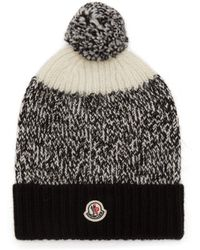 d070a2ecd63a2 Lyst - Moncler Pompom-embellished Cable-knit Beanie in White