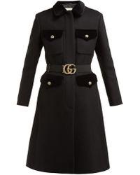 Gucci - Belted Velvet-trimmed Wool-blend Felt Coat - Lyst
