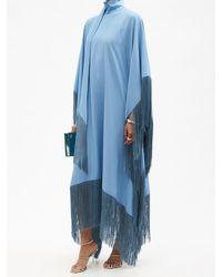 Taller Marmo ミセス ロス フリンジ クレープカフタンドレス - ブルー