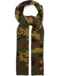 Miu Miu Camouflage-jacquard Wool Scarf - Green