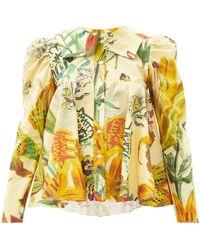 MATTY BOVAN Dolly Floral And Logo-print Cotton-poplin Blouse - Yellow