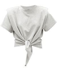 Isabel Marant ベリタ パデッドショルダー コットンtシャツ - グレー