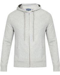 Frescobol Carioca Zip Through Cotton Blend Hooded Sweatshirt - Grey