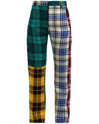 CHARLES JEFFREY LOVERBOY Panelled Tartan Wool Pants - Blue