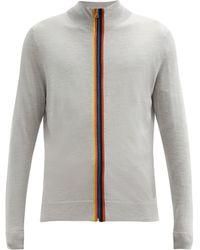 Paul Smith Cardigan en laine mérinos à motif Artist Stripe - Gris