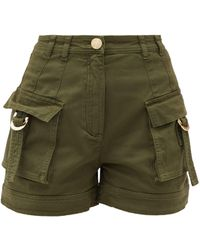 Balmain High-rise Cotton-blend Cargo Shorts - Green