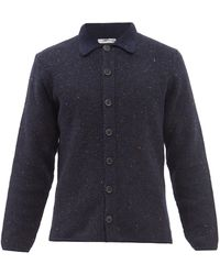 Inis Meáin Moss-stitch Merino Wool-blend Cardigan - Blue