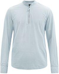 Giorgio Armani ダイヤパターン ポプリンシャツ - ブルー