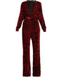 Balmain - Leopard Print Wide Leg Velvet Jumpsuit - Lyst