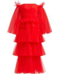 Carolina Herrera - Off The Shoulder Tiered Tulle Midi Dress - Lyst
