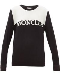 Moncler ロゴ ウールカシミアセーター - ブラック