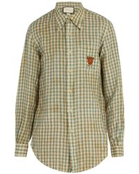 Gucci - Embroidered Checked Linen Shirt - Lyst