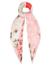Alexander McQueen - Floral And Skull-print Silk Scarf - Lyst