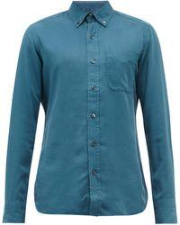 Tom Ford ガーメントダイ ツイルボタンダウンシャツ - ブルー