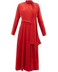 Sies Marjan ビー シルククレープドレス - レッド