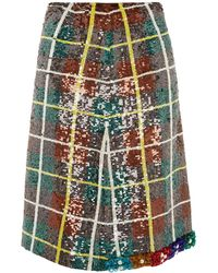 Ashish Bead-embellished Sequinned Plaid Skirt - Green