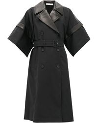 JW Anderson Double-breasted Leather-panelled Cotton Coat - Black