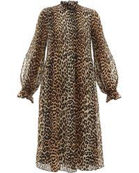 Ganni Leopard-print Plissé-georgette Dress - Brown