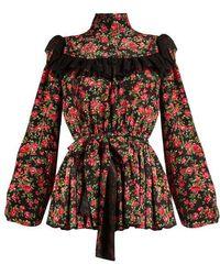 Dolce & Gabbana - Rose-print Ruffle-trimmed Blouse - Lyst