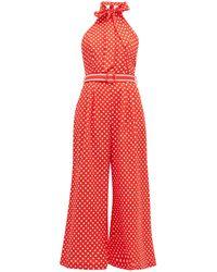 Zimmermann Zinnia Polka-dot Linen-blend Jumpsuit - Red