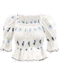 Lug Von Siga Emily Floral-embroidered Smocked Linen Top - White