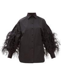 Valentino フェザートリム ファイユシャツ - ブラック
