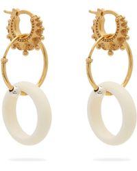 Bottega Veneta - Charm Gold Plated Sterling Silver Hoop Earrings - Lyst