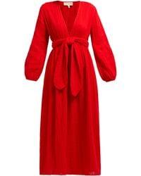 Mara Hoffman Luna V-neck Organic Cotton-gauze Midi Dress - Red