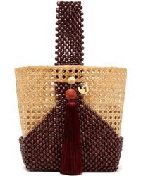 Rosantica By Michela Panero Budd Wicker And Beaded Wood Bucket Bag - Multicolour