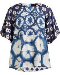 Biyan Blouse en soie à imprimé floral Suji - Bleu