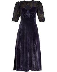 Rebecca Taylor - Organza-yoke Ruched Velvet Dress - Lyst