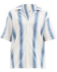 Marrakshi Life Gradient-stripe Cotton-blend Short-sleeved Shirt - Blue