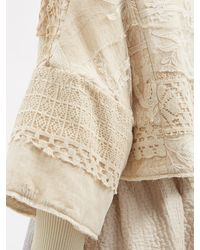 By Walid Bella Upcycled Lace-panels Cotton Jacket - Natural