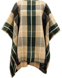 Colville Windowpane-check Wool Poncho - Natural