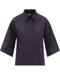 Three Graces London Nico Cotton-poplin Shirt - Blue